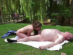 Blonde, Blowjob, Old and Young, Outdoor