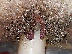 Dildo, Hairy, Masturbation, MILF, Orgasm