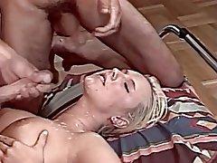 Blonde, Cum in mouth, Cumshot, Facial, Threesome